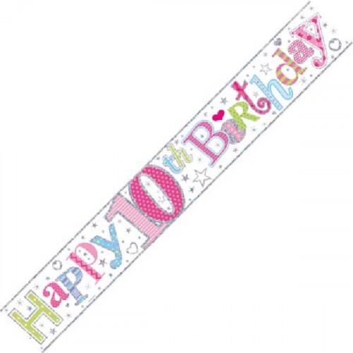 Age 10 Girl Foil Banner (9ft)