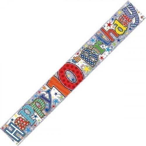 Age 10 Boy Foil Banner (9ft)