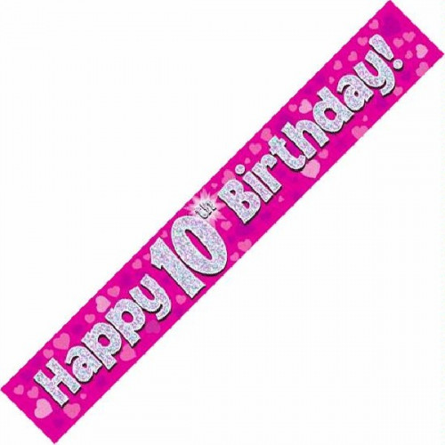 Pink 10th Birthday Foil Banner (9ft)