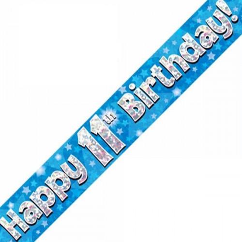 Blue 11th Birthday Foil Banner (9ft)