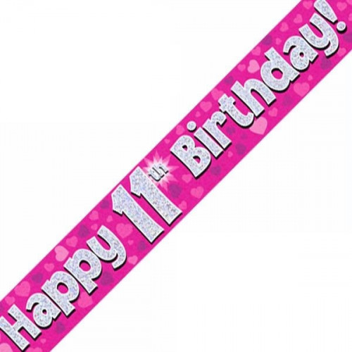 Pink 11th Birthday Foil Banner (9ft)