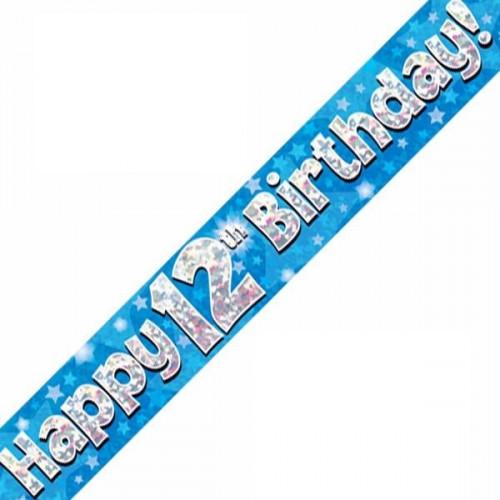 Blue 12th Birthday Foil Banner (9ft)