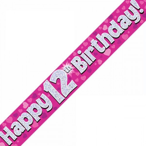 Pink 12th Birthday Foil Banner (9ft)