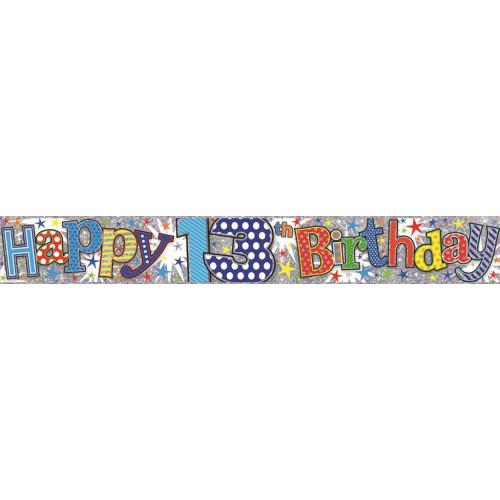 Age 13 Boy Foil Banner (9ft)