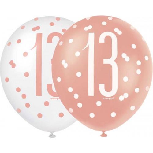 Glitz Rose Gold 13th Birthday Latex Balloons (Pack of 6)