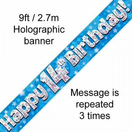 Blue 14th Birthday Foil Banner (9ft)