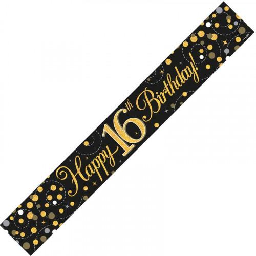 Black & Gold 16th Birthday Foil Banner (9ft)