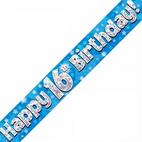 Blue 16th Birthday Foil Banner (9ft)