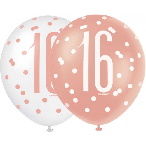 Glitz Rose Gold 16th Birthday Latex Balloons (Pack of 6)