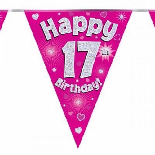 Pink Happy 17th Birthday Bunting
