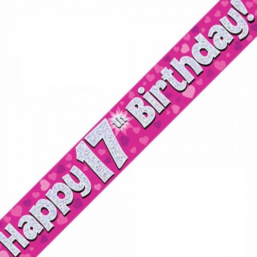 Pink 17th Birthday Foil Banner (9ft)