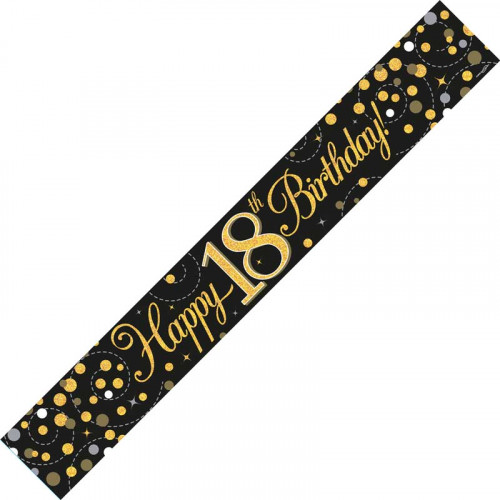 Black & Gold 18th Birthday Foil Banner (9ft)