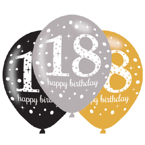 18th Birthday Latex Balloons (Pack of 6)