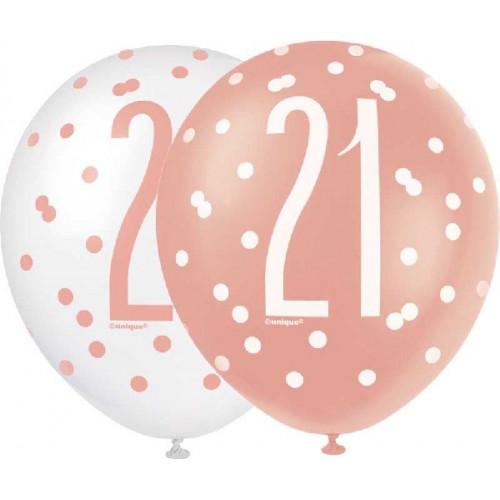 Glitz Rose Gold 21st Birthday Latex Balloons (Pack of 6)