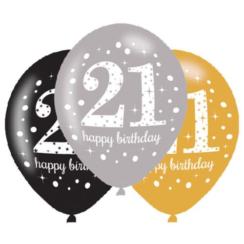 21st Birthday Latex Balloons (Pack of 6)