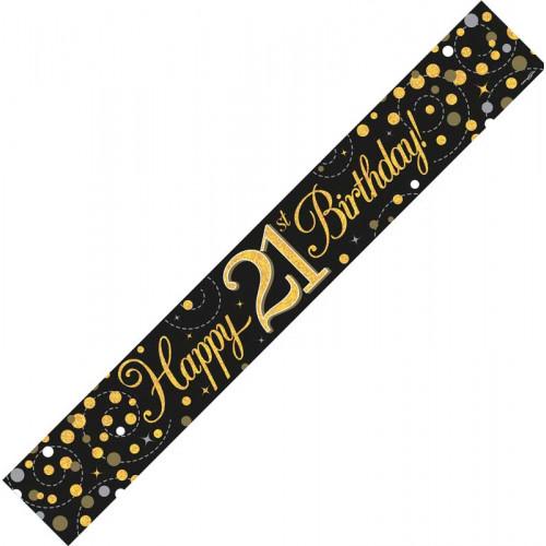 Black & Gold 21st Birthday Foil Banner (9ft)