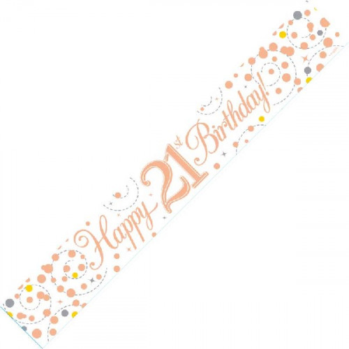 White & Rose Gold 21st Birthday Banner (9ft)