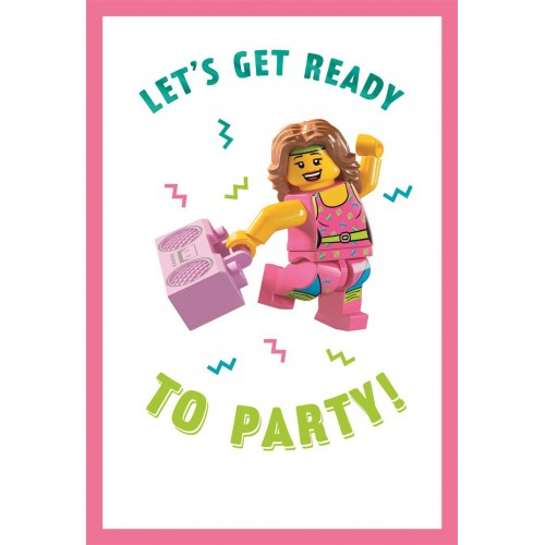 Lego Birthday Card - Let's Get Ready To Party!
