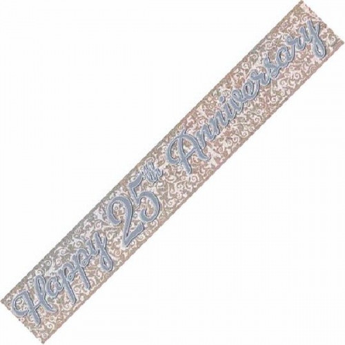 25th Silver Wedding Anniversary Foil Banner (12ft)