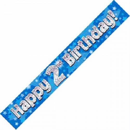Blue 2nd Birthday Foil Banner (9ft)