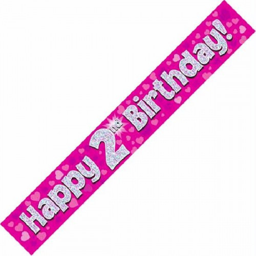 Pink 2nd Birthday Foil Banner (9ft)