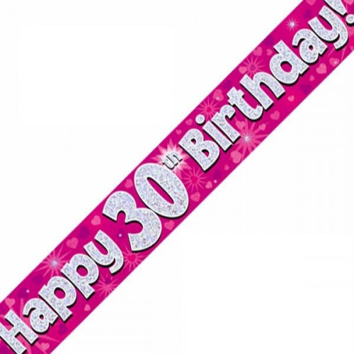 Pink 30th Birthday Foil Banner (9ft)