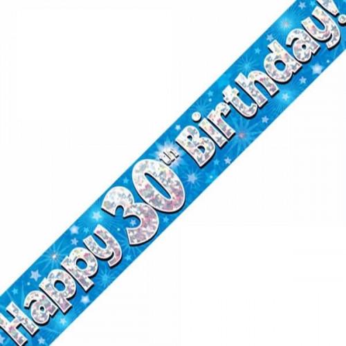 Blue 30th Birthday Foil Banner (9ft)