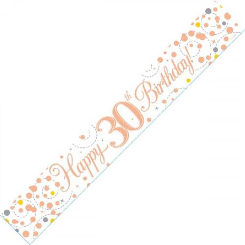 White & Rose Gold 30th Birthday Foil Banner (9ft)