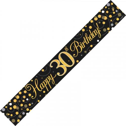 Black & Gold 30th Birthday Foil Banner (9ft)