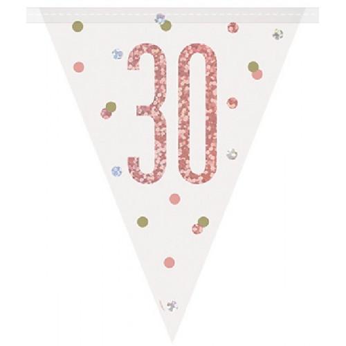 Glitz Rose Gold 30th Birthday Bunting