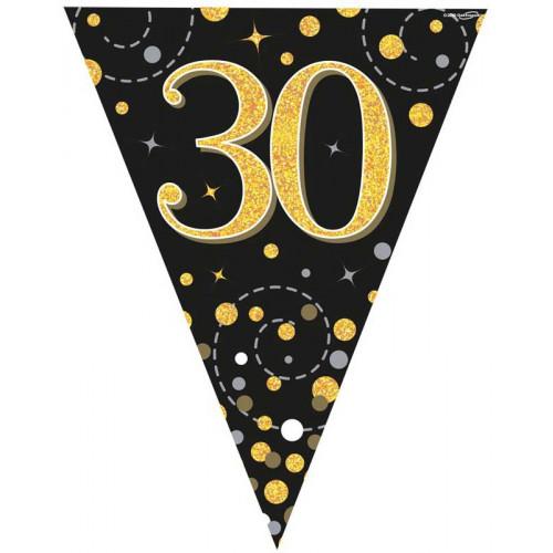 Black & Gold 30th Birthday Bunting