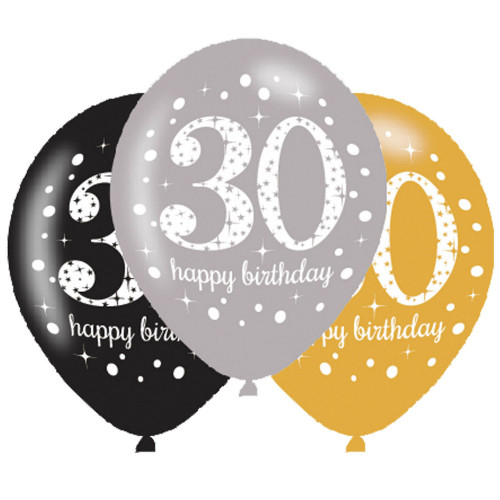 30th Birthday Latex Balloons (Pack of 6)