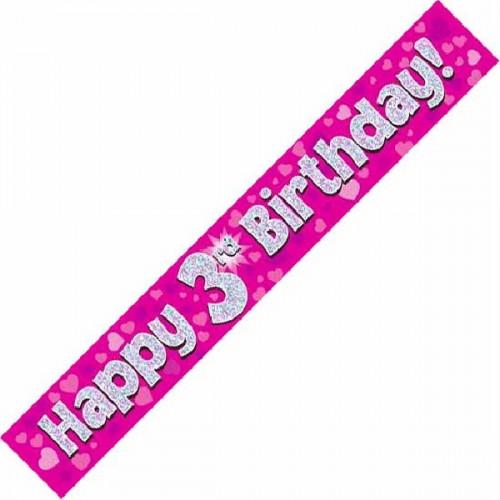Pink 3rd Birthday Foil Banner (9ft)