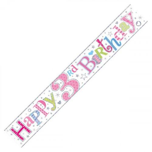 Age 3 Girl Foil Banner (9ft)