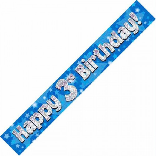 Blue 3rd Birthday Foil Banner (9ft)