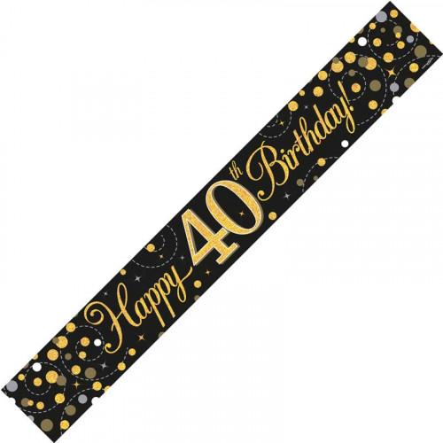 Black & Gold 40th Birthday Foil Banner (9ft)