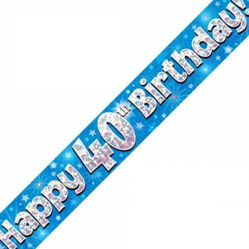 Blue 40th Birthday Foil Banner (9ft)