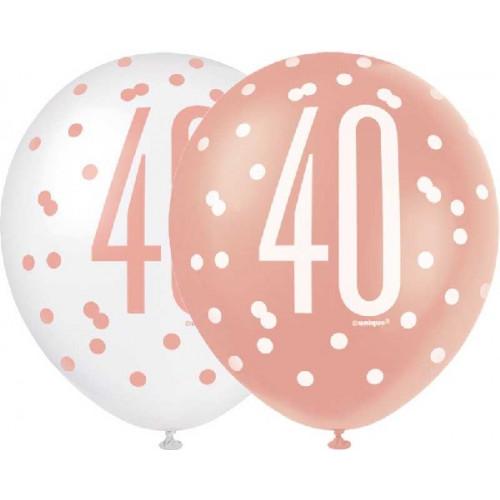 Glitz Rose Gold 40th Birthday Latex Balloons (Pack of 6)