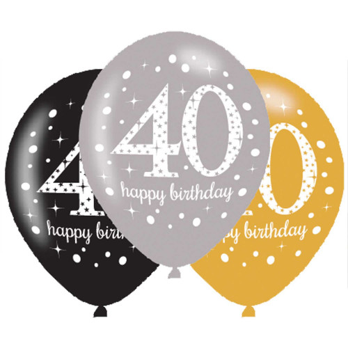 40th Birthday Latex Balloons (Pack of 6)