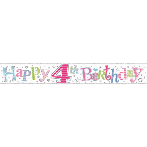 Age 4 Girl Foil Banner (9ft)