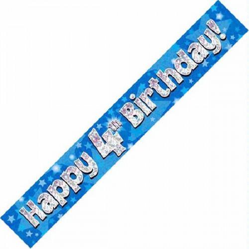 Blue 4th Birthday Foil Banner (9ft)