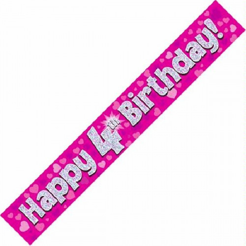 Pink 4th Birthday Foil Banner (9ft)