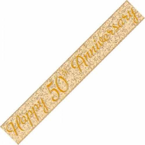 50th Golden Wedding Anniversary Foil Banner (12ft)