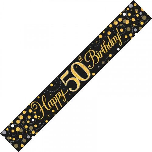 Black & Gold 50th Birthday Foil Banner (9ft)