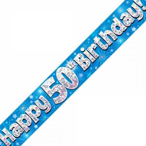 Blue 50th Birthday Foil Banner (9ft)