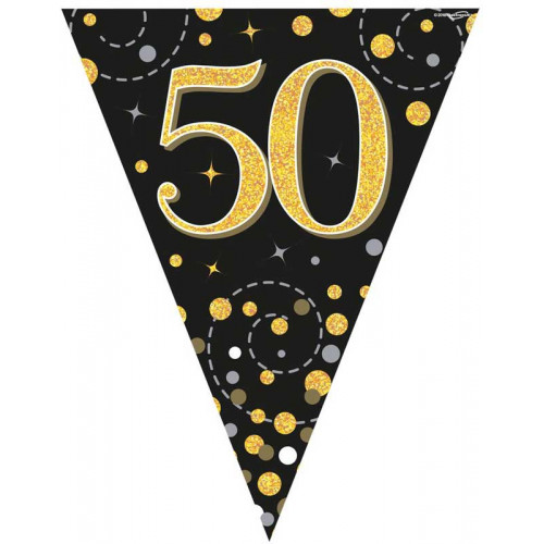 Black & Gold 50th Birthday Bunting
