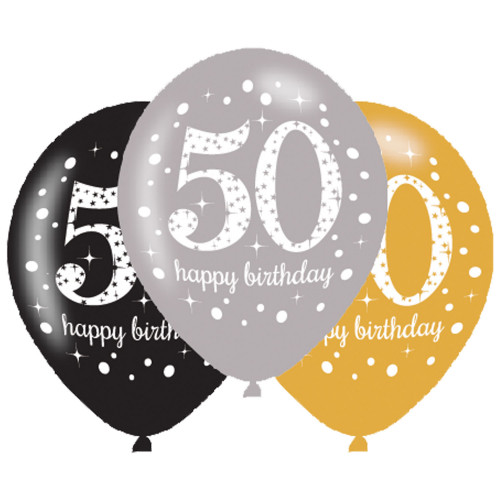 50th Birthday Latex Balloons (Pack of 6)