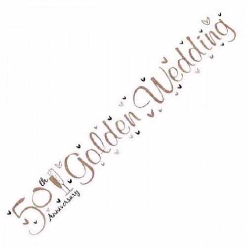 50th Golden Wedding Anniversary Foil Banner (9ft)