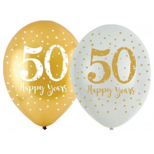 50th Golden Wedding Anniversary Latex Balloons (Pack of 6)