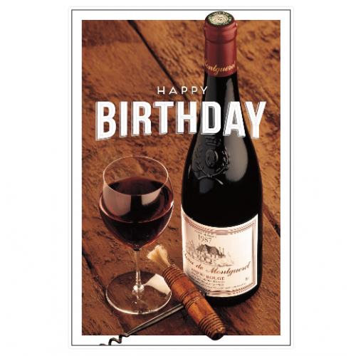 Bottle of Red Wine Birthday Card